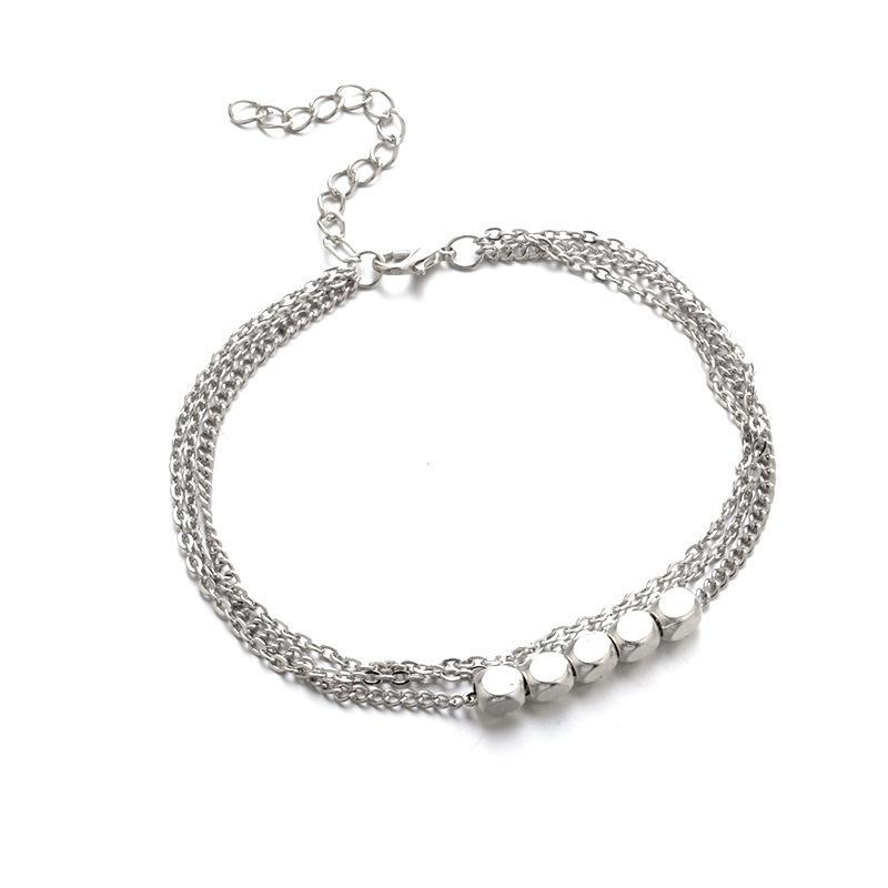 Vintage Multilayer Cubic Silver Plated Anklet-Luckyfine
