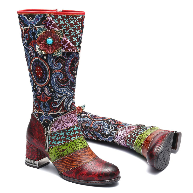 Gracosy Women Bohemian Flower Pattern Leather Fur Lined Knee High Boots, Zipper Riding Boots for Fall Winter
