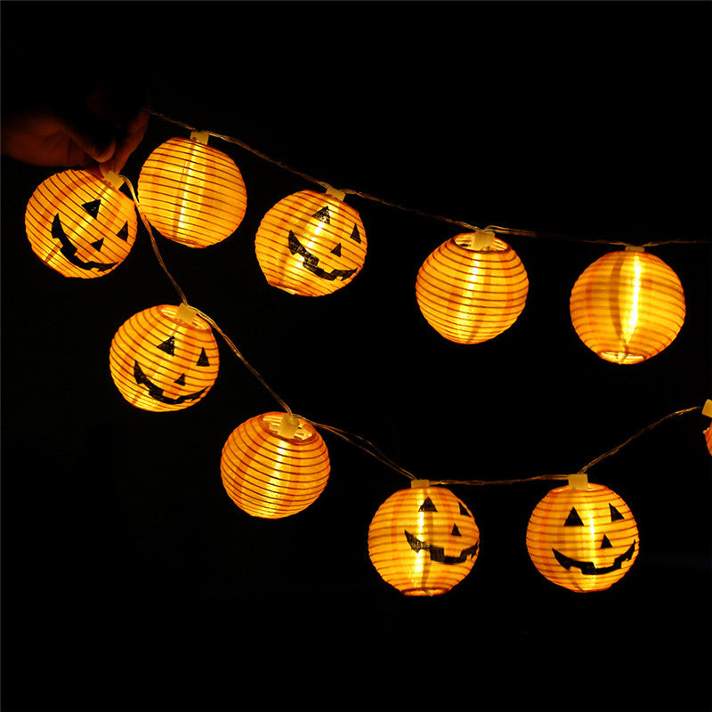 Halloween Pumpkin LED String Lights, DIY Holiday Decor Lights, Foldable Lantern Shaped, 20PCS Lights