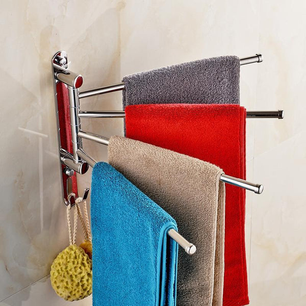 Stainless Steel No Drilling Towel Rack 3/4 Rod with Hooks Movable Towel Bar