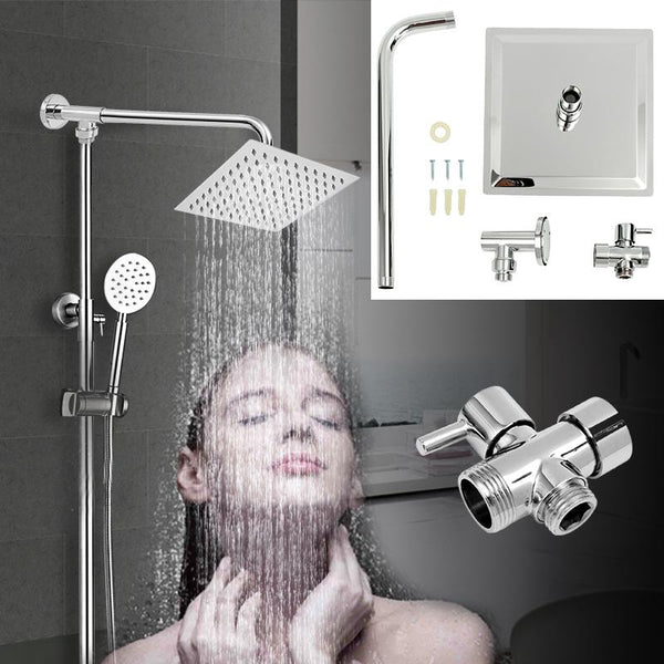 Stainless Steel 8'' Square Rainfall Shower Head Ultra Thin Top Shower Head with Shower Diverter Valve