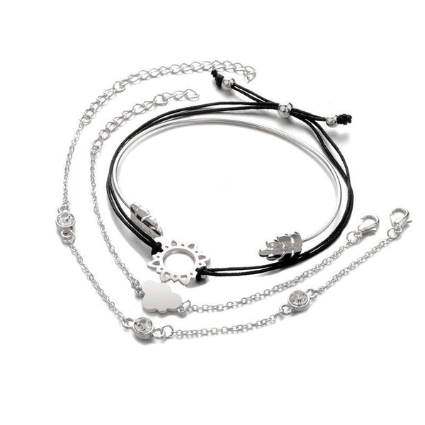4PCS Bohemian Style Adjustable Bangle Bracelet Set-Luckyfine