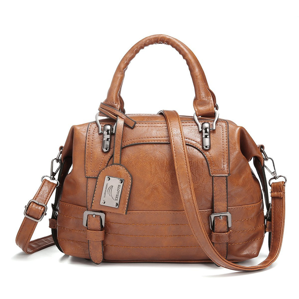 Ladies Oil Wax Leather Tote Bag-Luckyfine