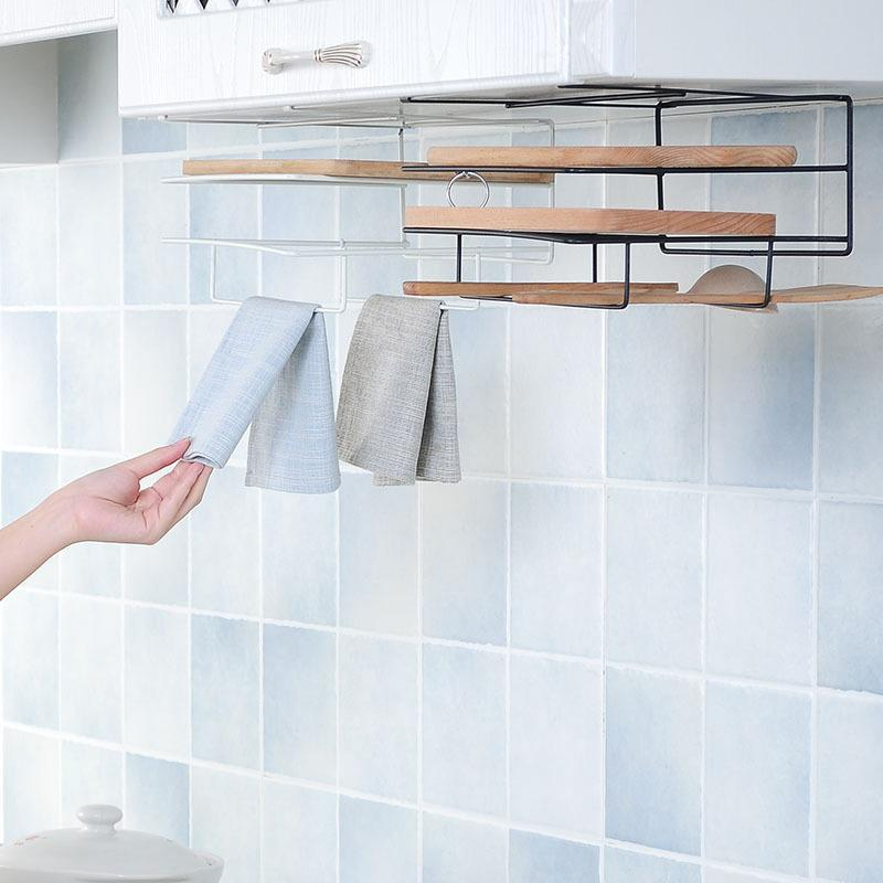 No Drilling Kitchen Under Cabinet Hanging Organizer Cutting Board Storage Rack Towel Rack