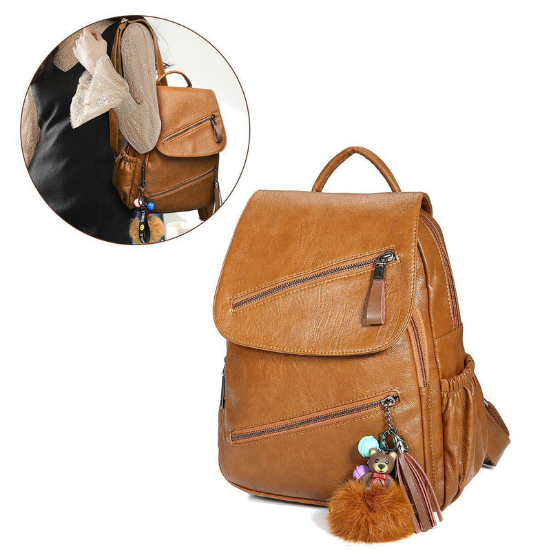 PU Leather Backpack With Adorable Bear-Luckyfine