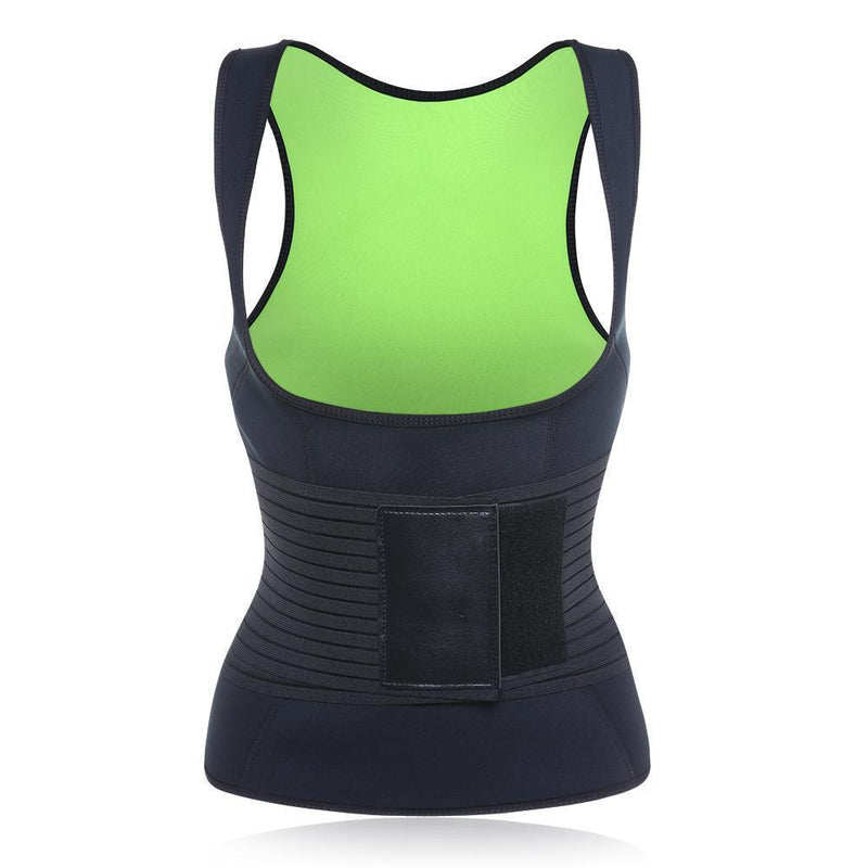 Sauna Suit Tank Top - Black+Green-Luckyfine