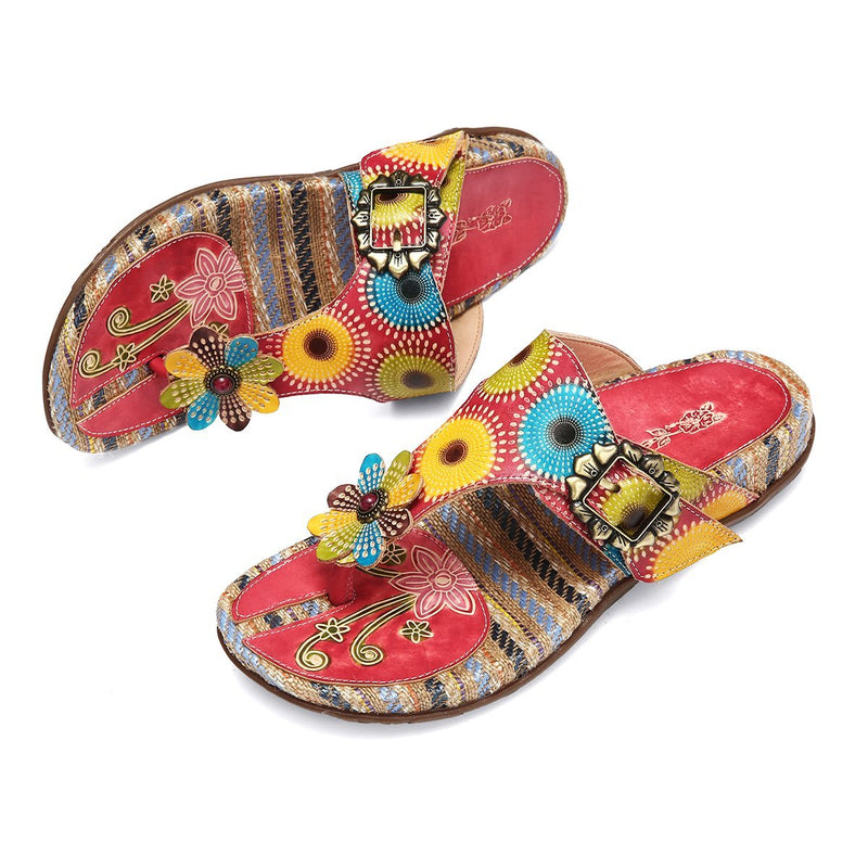 gracosy Women Summer Bohemian Handmade Straw Insole Leather Clip Toe Flip Flops