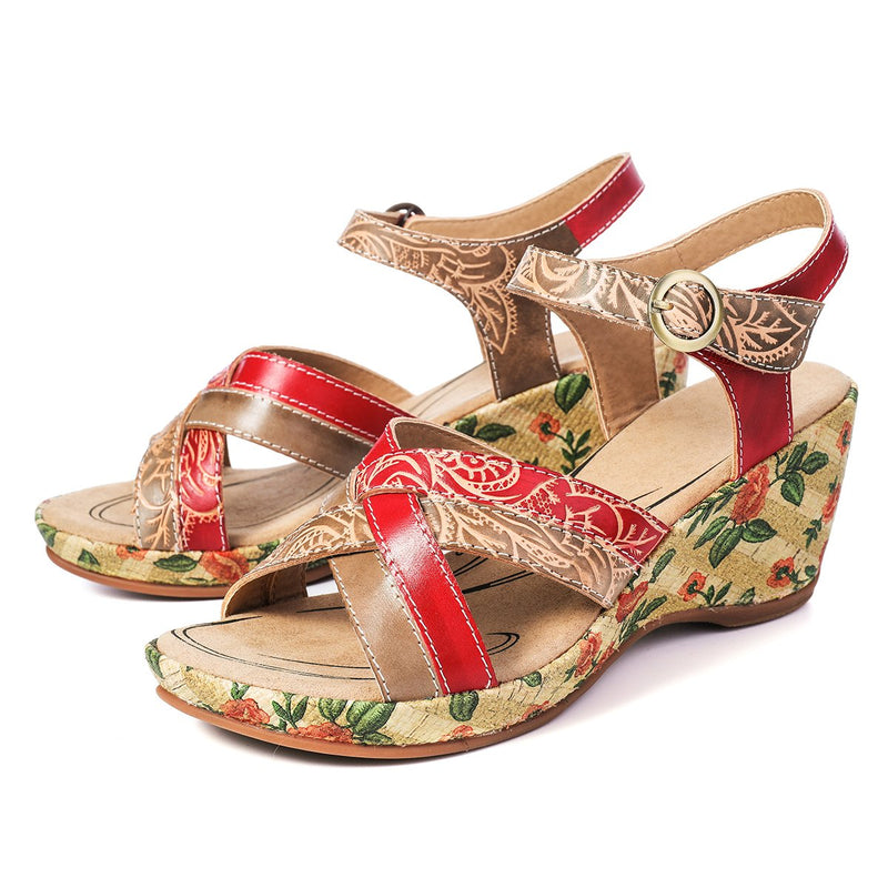 Gracosy Women Summer Open Toe Wedge Heel Leather Sandals, Bohemian Handmade Flower Open Toe Slingback Leather Sandals