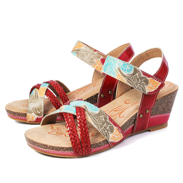 Gracosy Women Summer Handmade Open Toe Wedge Heel Leather Sandals, Bohemian Handmade Weaving Slingback Leather Sandals
