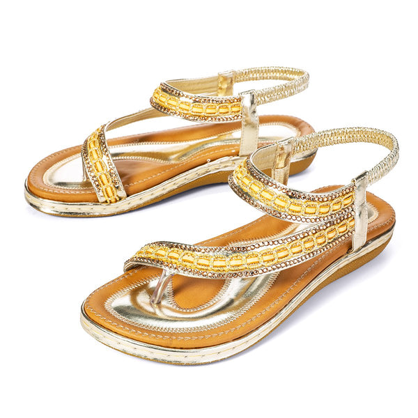 Gracosy Women Summer Flat Sandals, Bohemian T-Strap Rhinestone Outdoor Clip Toe Flip Flop-Metallic Colour