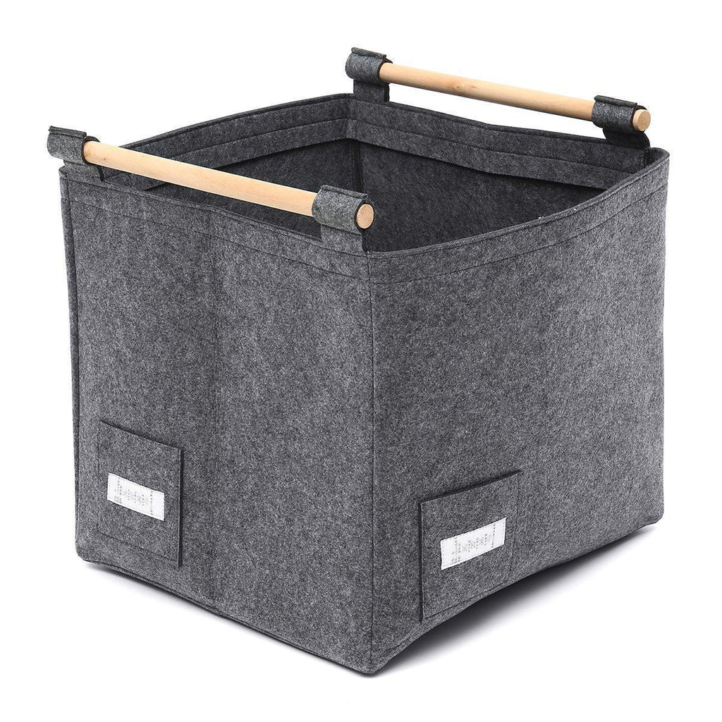 Felt Storage Basket Foldable Organizer with Wood Holder-Luckyfine