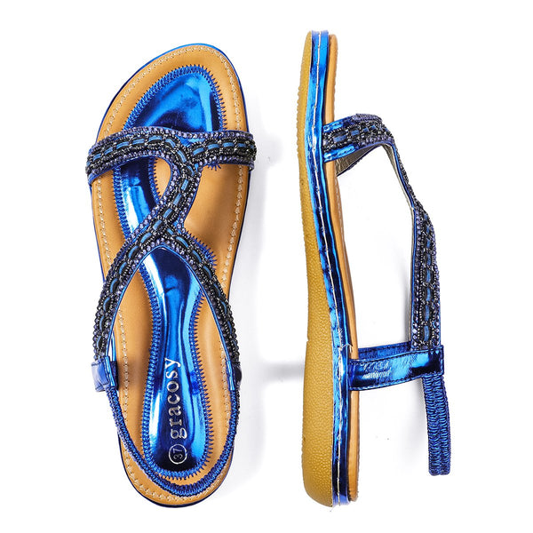 Gracosy Summer Women Sandals, Flats Flip Flops T-Strap Bohemian Sandals Elastic Slip On-Metallic Colour