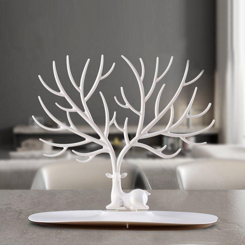 Antlers Jewelry Display Hanging Rack, Nordic Style Deer Jewelry Hanging Storage Tree for Necklace, Rings, Earrings