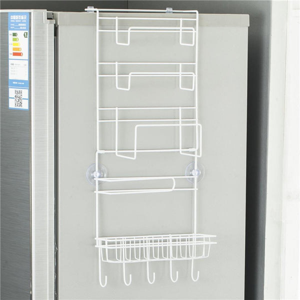 5 Tier Multi-Function Fridge Side Wall Hanging Storage Rack Refrigerator Side Storage Shelf