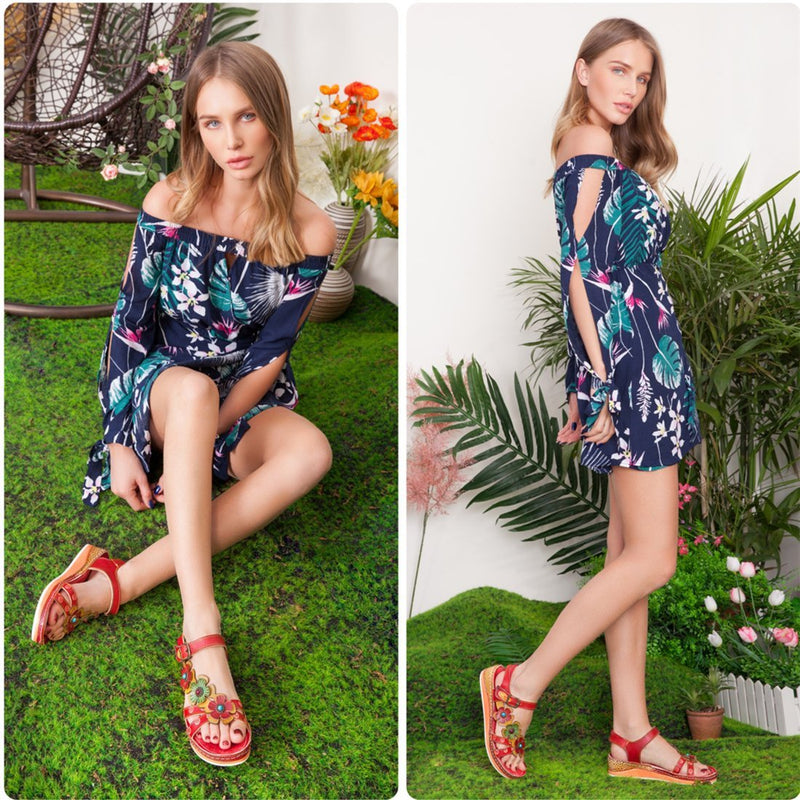 Summer Flower Splicing Sandals-Luckyfine