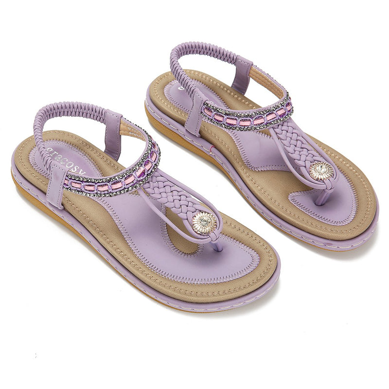 Gracosy Women Summer Flat Flip Flop,  Bohemian Weaving Rhinestone Beads Sandals-Matte Colour