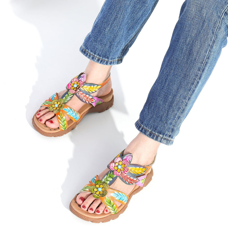 Gracosy Summer Women Flower Splicing Sandals, T-Strap Comfy Sport Sandals