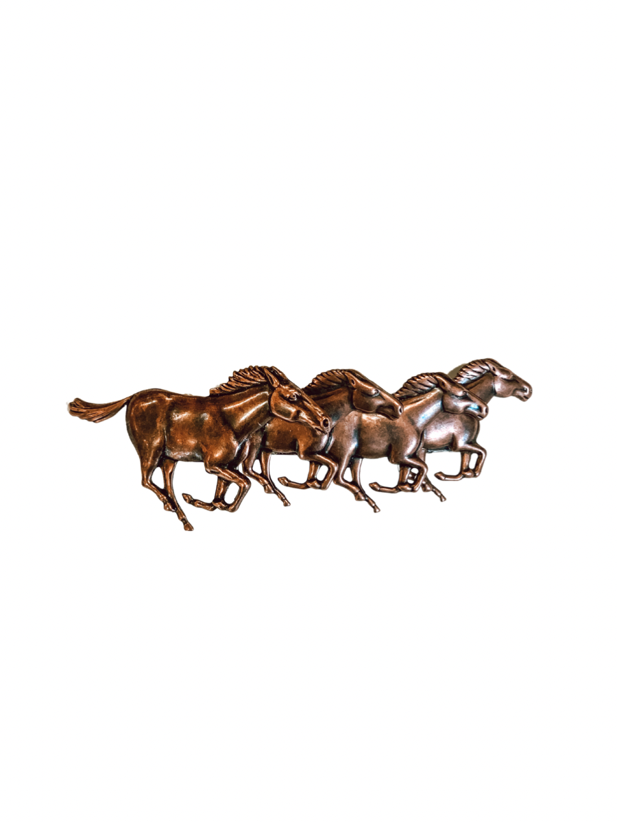 Copper Running Horses Barrette