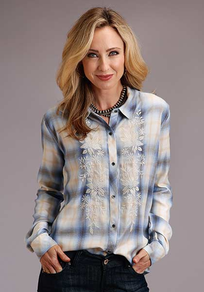 Stetson Cornflower Plaid Blouse