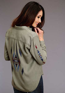 Women's Olive Tencel Embroidered Blouse