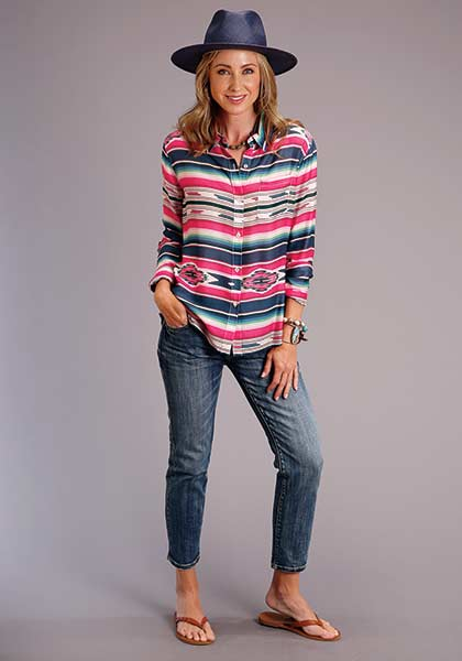 Stetson Serape Print Long Sleeve Blouse