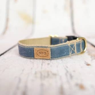 "1"" Quarry Blue Waxed Cotton Collar"