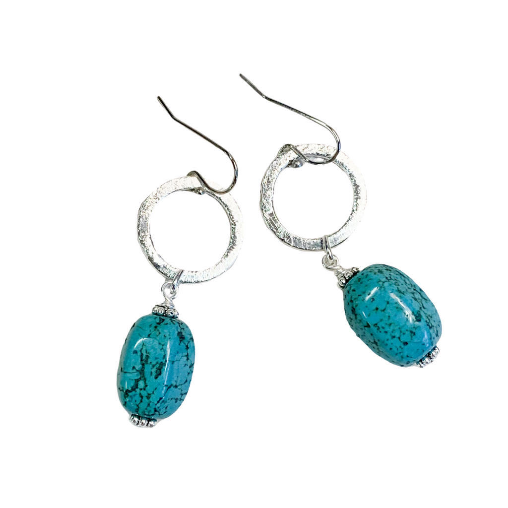 Fortuna Turquoise & Silver Earrings