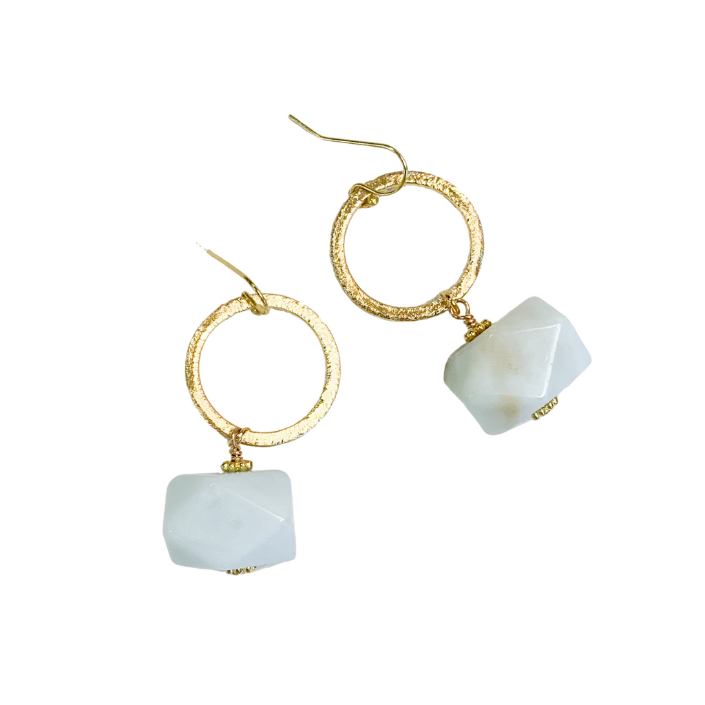 Fortuna Amazonite & Gold Earrings
