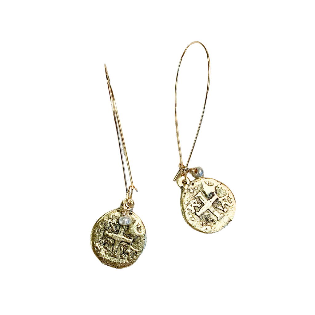 Coin Cross Earrings