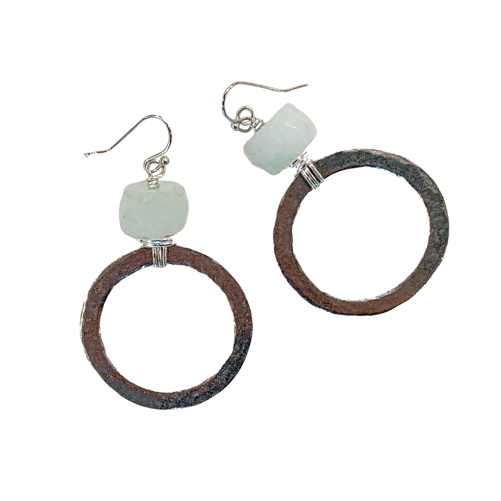 Aqua And Silver Hammered Circle Earrings