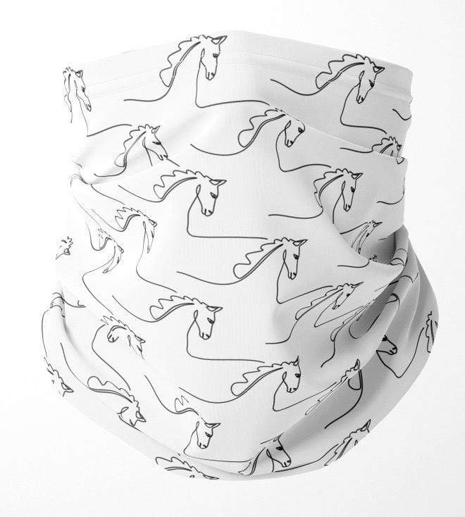 Horse Head Drawings Neck Gaiter