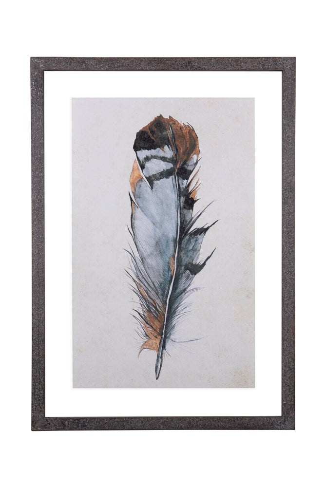 Wood Framed Feather Wall Decor