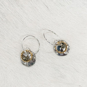 Hammered Silver & Gold Halo Earrings