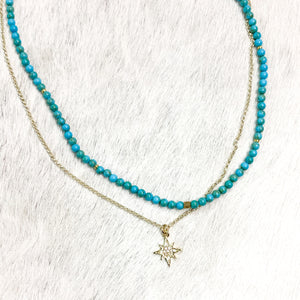 Turquoise & Gold Star Double Layer Necklace