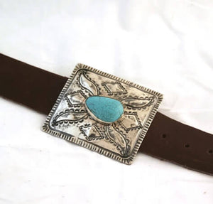 Rectangle Buckle With Turquoise Stone