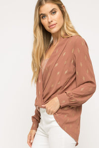 Lurex Crossover Blouse
