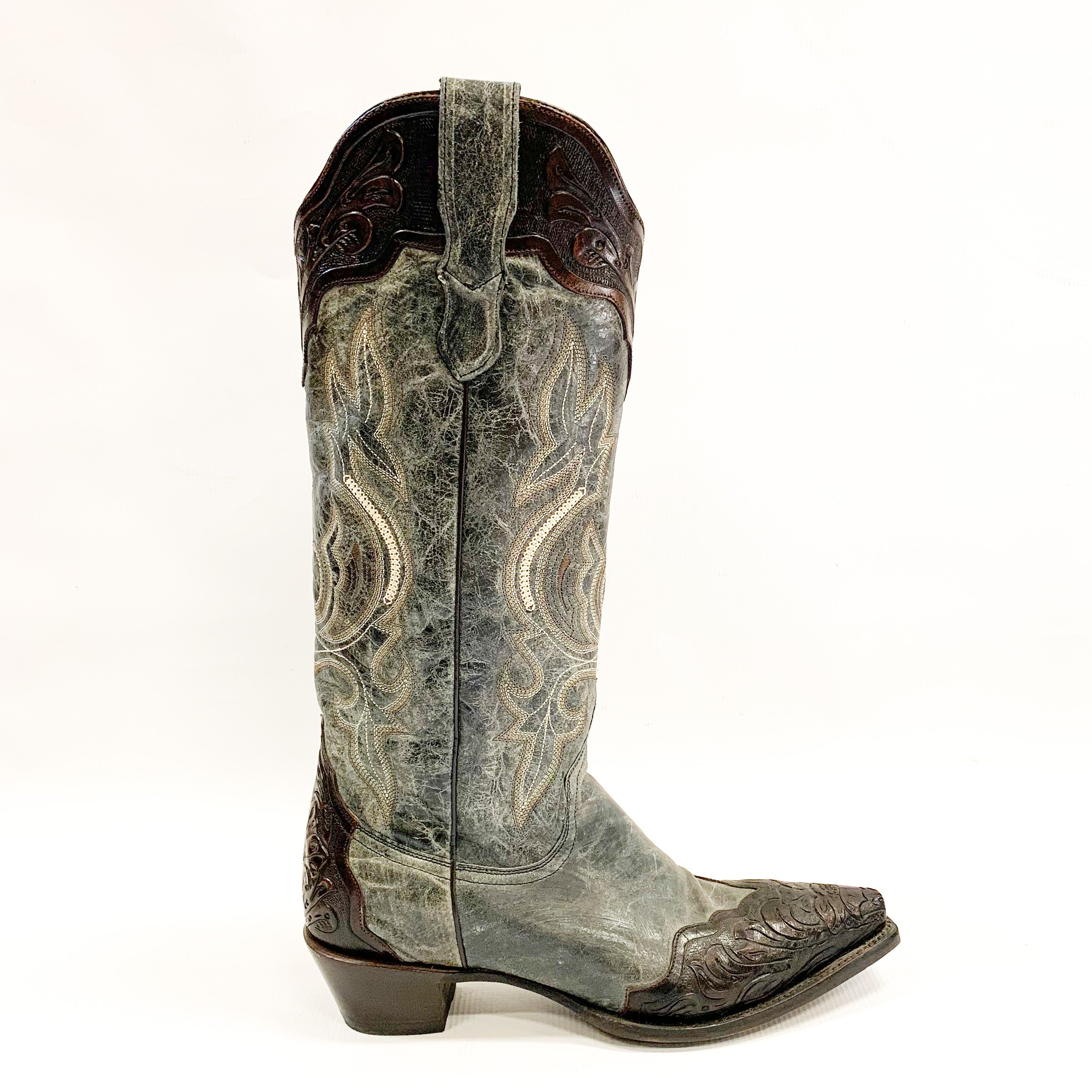 Stetson Crackled Black Tooled Cowboy Boot