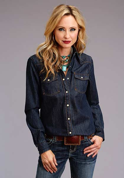 Dark Denim Pearl Snap Shirt