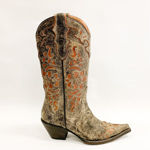 Stetson Stacked Heel Overlay Cowboy Boot