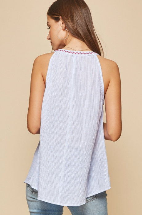 Denim Stripes Flower Tank