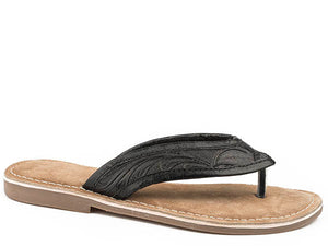 Penelope Tooled Flip Flop Black