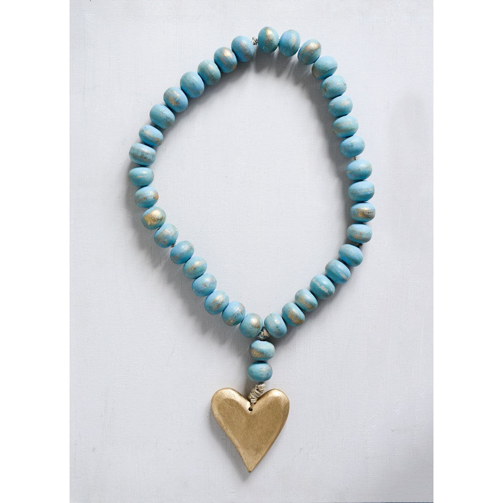Mango Wood Bead Strand Turquoise With Heart