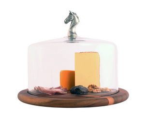 Arthur Court Horse Glass Covered Wood Cheese Board