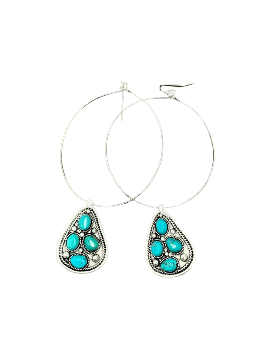Turquoise Hoop Earrings 722454