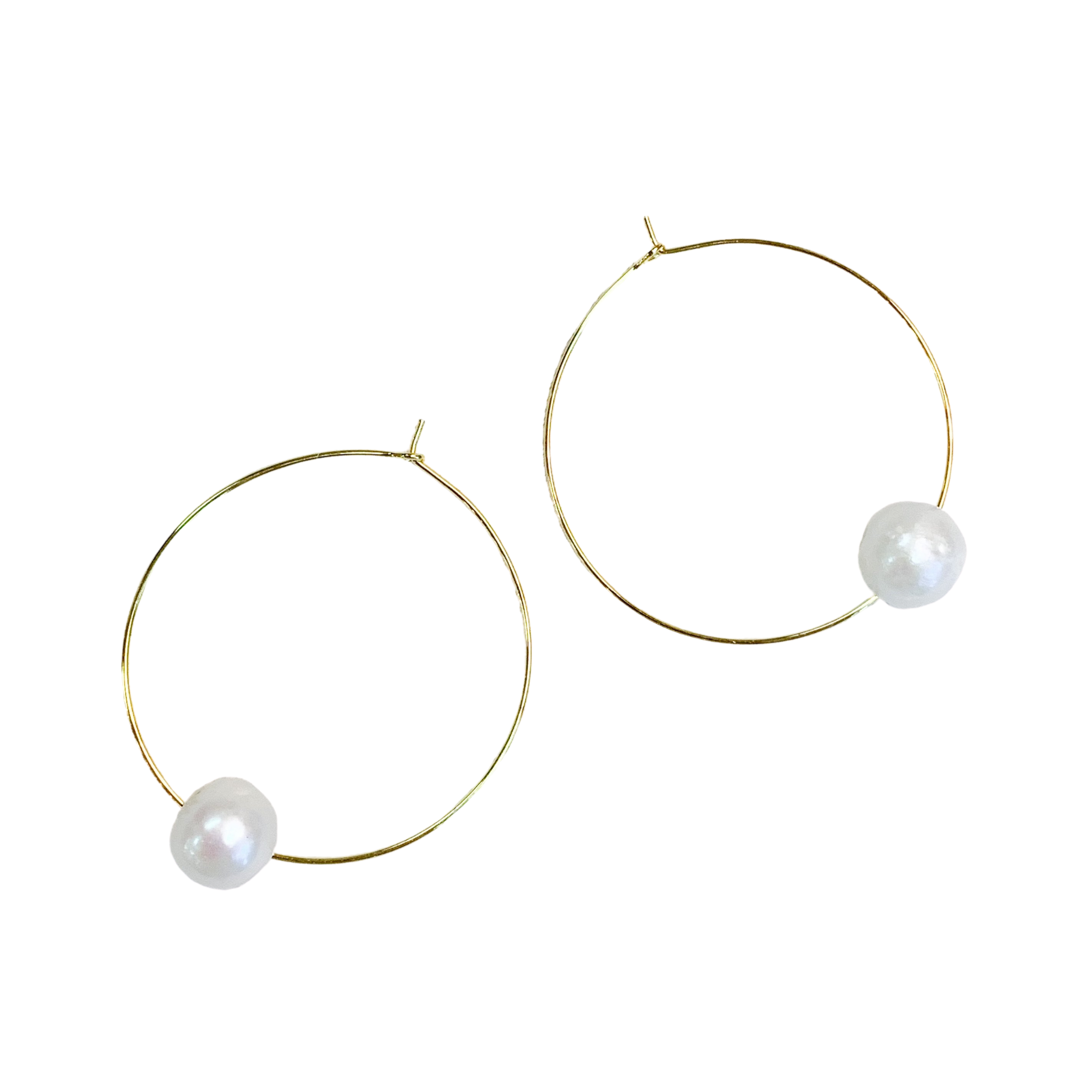 Gold Hoop With Pearl Bead Earrings