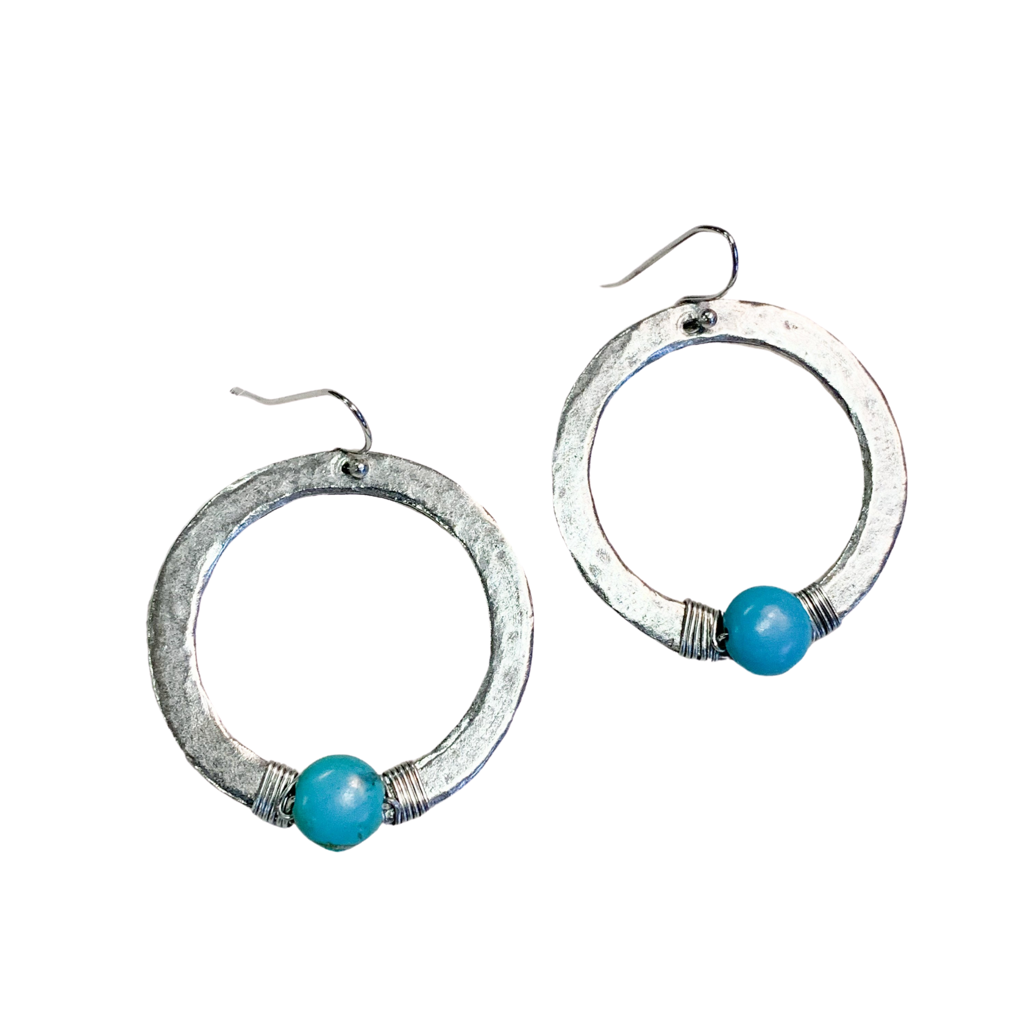 Hammered Silver Hoop With Turquoise Earrings