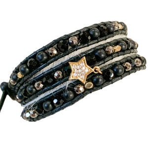 Noir 3 Wrap Beaded Bracelet