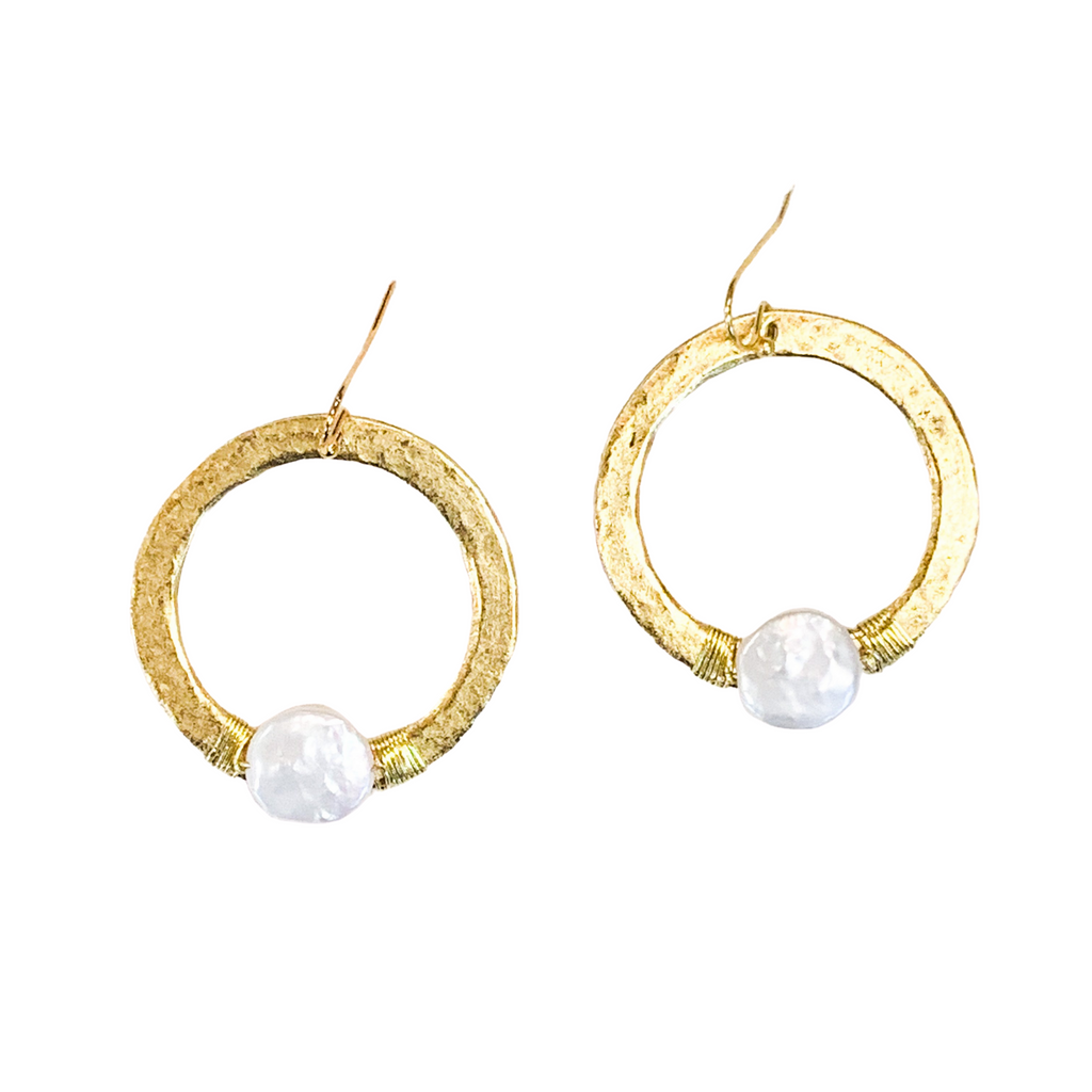 Hammered Gold & Pearl Earrings