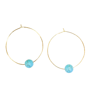 Gold Hoop With Turquoise Earrings
