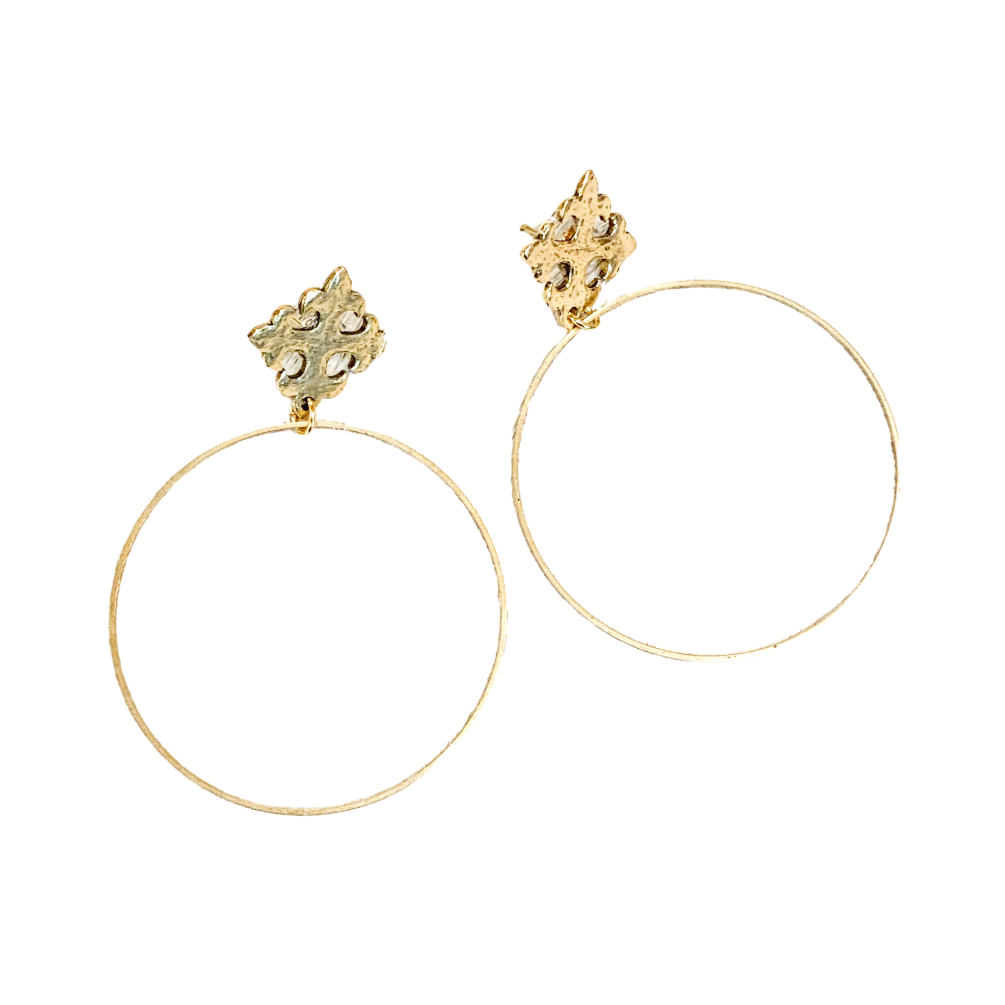 Gold Hoops With Maltese Cross